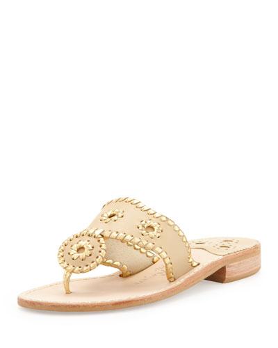 Jack Rogers Nantucket Whipstitch Thong Sandal, Camel/Gold