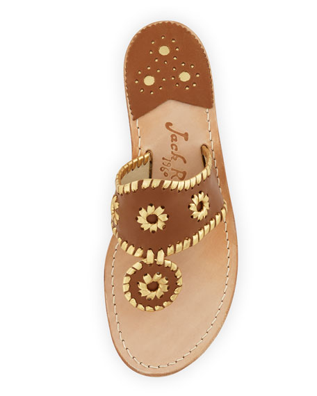 Nantucket Whipstitch Thong Sandal, Cognac/Gold