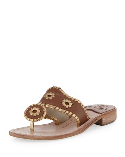 Jack Rogers Nantucket Whipstitch Thong Sandal, Cognac/Gold