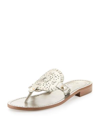 Jack Rogers Georgica Metallic Thong Sandal, Platinum