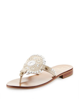 Jack Rogers Georgica Leather Thong Sandal, Bone/White