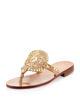 Jack Rogers Georgica Cork/Metallic Thong Sandal, Gold