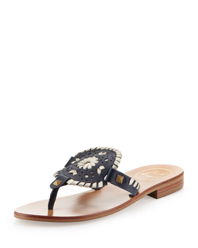 Jack Rogers Georgica Leather Thong Sandal, Navy/Platinum