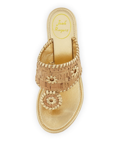 Marbella Cork Wedge Sandal, Gold