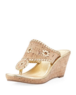 Jack Rogers Marbella Cork Wedge Sandal, Gold