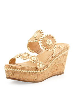 Jack Rogers Leigh Double-Strap Wedge Sandal, Gold/Cork
