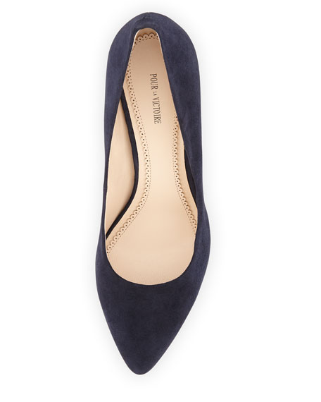 Maia Suede Wedge Pump, Navy