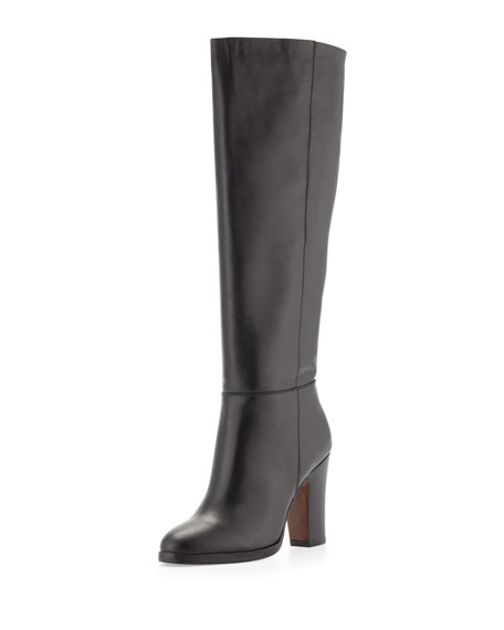 Reese Leather Knee Boot, Black