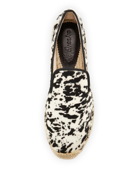 Dee Gacela Animal-Print Espadrille Loafer, Black/White