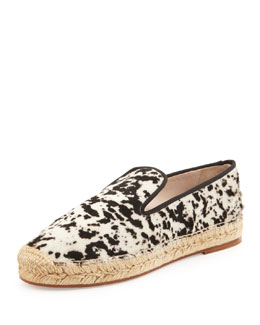 elysewalker los angeles Dee Gacela Animal-Print Espadrille Loafer, Black/White