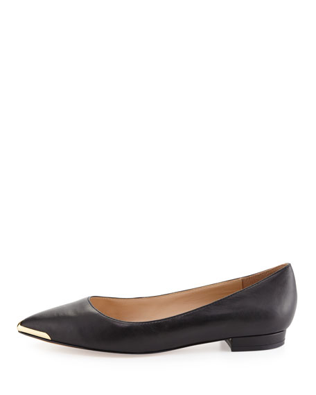 Renna Metal-Tip Leather Flat, Black