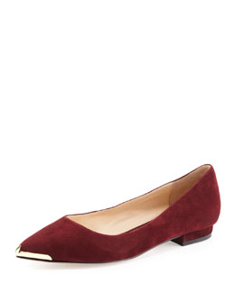 Pour la Victoire Renna Metal-Tip Leather Flat, Wine