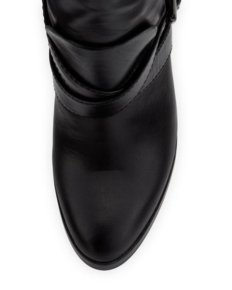 Roslin Buckled Leather Boot, Black