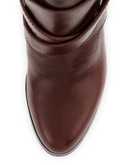 Roslin Buckle-Wrap Calfskin Boot, Cognac