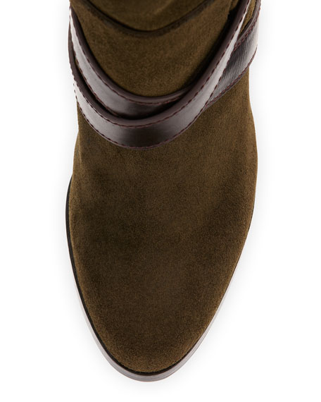 Roslin Buckle-Wrap Suede Boot, Army/Brown