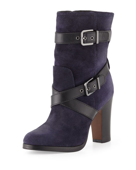 Roslin Buckle-Wrap Suede Boot, Navy/Black