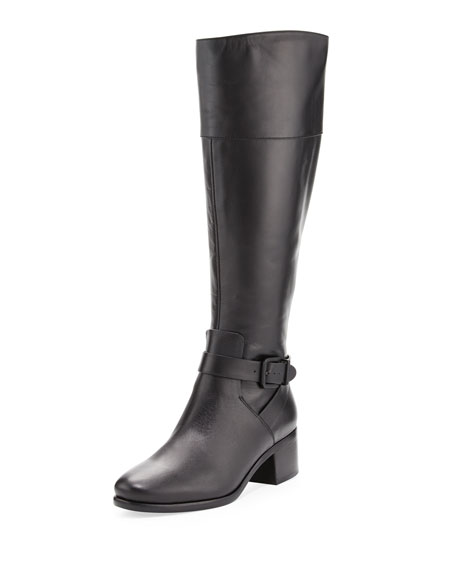 Shae Leather Knee Boot, Black