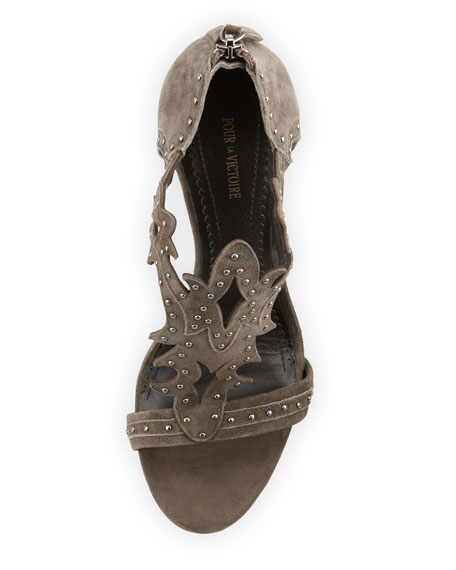 Vassy Studded Suede Sandal, Charcoal