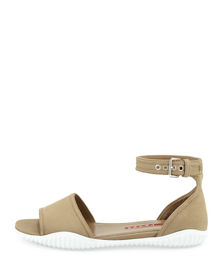 Gabardine Flat Sandal, Khaki