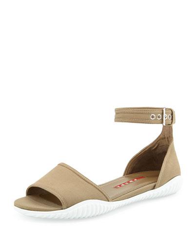 Prada Gabardine Flat Sandal, Khaki