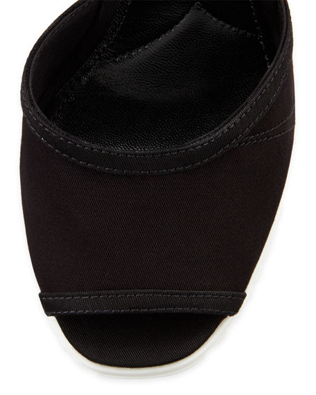 Gabardine Rope Wedge Sandal, Nero
