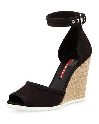 Prada Gabardine Rope Wedge Sandal, Nero