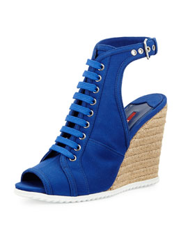Prada Lace-Up Gabardine Glove Wedge, Bluette