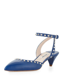 Miu Miu Studded Pointed Ankle-Wrap Pump, Nude