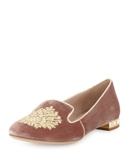 Miu Miu Velvet Damask Smoking Slipper