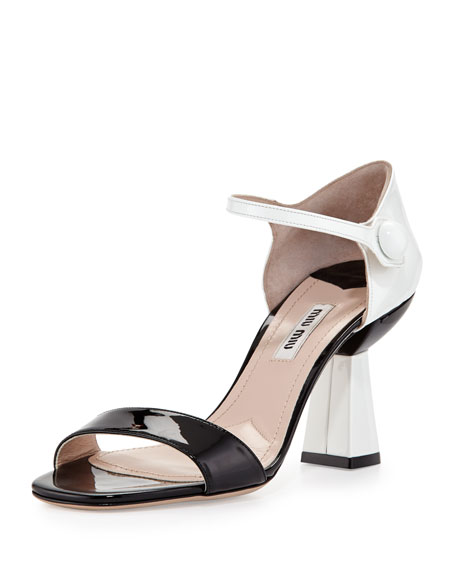 Patent Ankle-Wrap Sandal with Flared Heel, Black/White