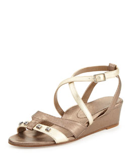 Anyi Lu Lily Metallic Wedge Sandal, Platinum/Pewter