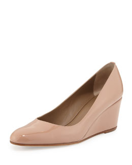 Anyi Lu Kelly Patent Wedge Pump, Bisque