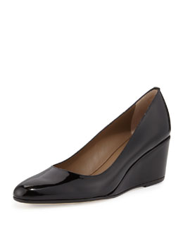 Anyi Lu Kelly Patent Wedge Pump, Black