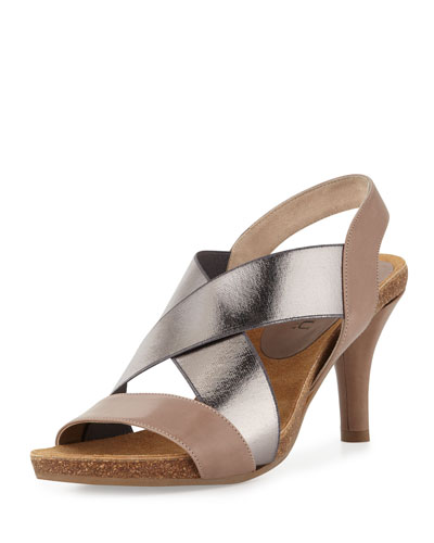 Anyi Lu Bella Crisscross Stretch Sandal, Latte