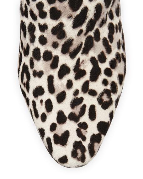 Leopard-Print Mid-Heel Ankle Boot
