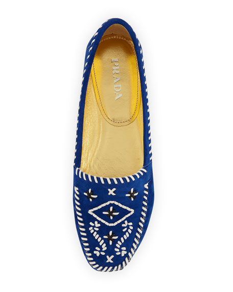 Flat Embroidered Suede Moccasin, Bluette