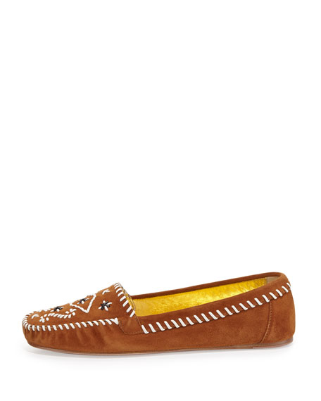 Tribal Stitched Suede Moccasin, Brown