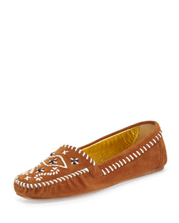Prada Tribal Stitched Suede Moccasin, Brown
