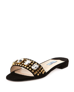Prada Suede Jeweled Flat Slide, Black