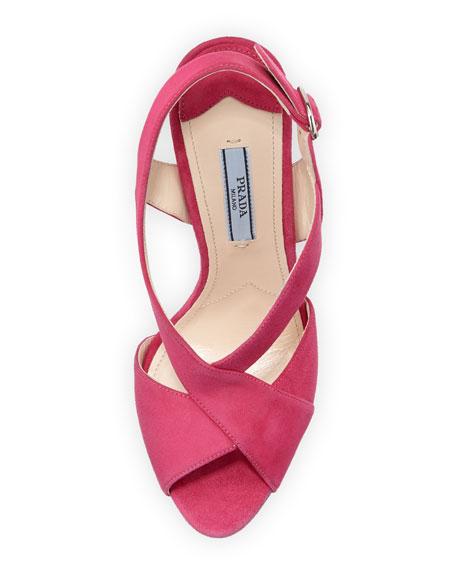 Suede Crisscross Sandal, Pink