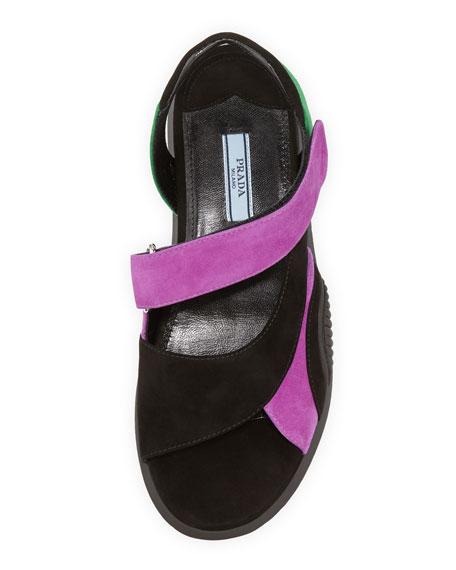 Suede Asymmetric Flat Sport Sandal, Black/Purple