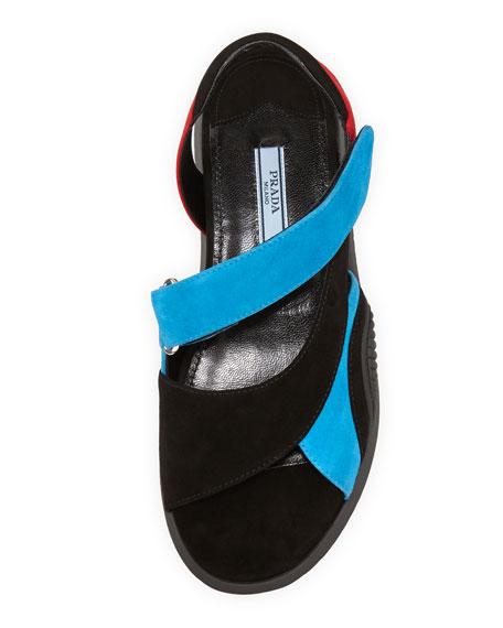 Suede Asymmetric Flat Sport Sandal, Black/Blue