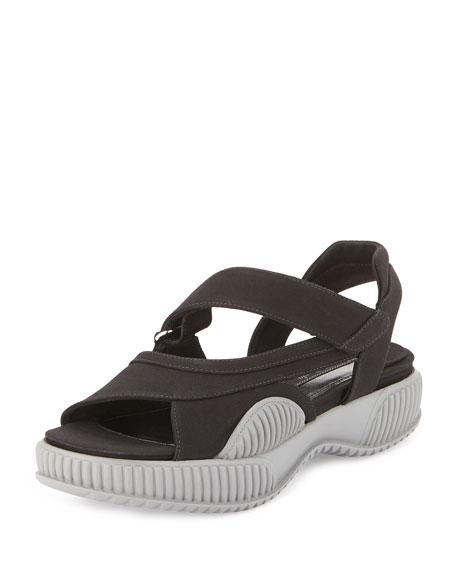 Gabardine Thick-Sole Grip-Strap Sandal, Black