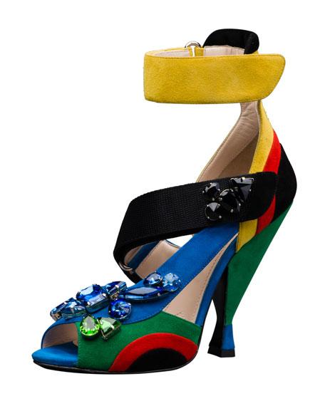 Embellished Asymmetric Suede Sandal