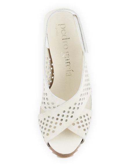 Noor Perforated Strap Sandal, Alabaster