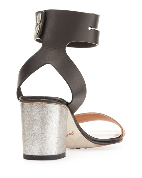Xola Ankle-Strap City Sandal, Black/Adobe/Silver