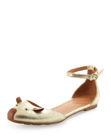 d'Orsay Mouse Ballerina Flat, Gold