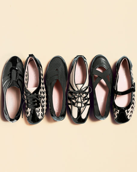 Twila Crisscross Leather Slip-On, Black