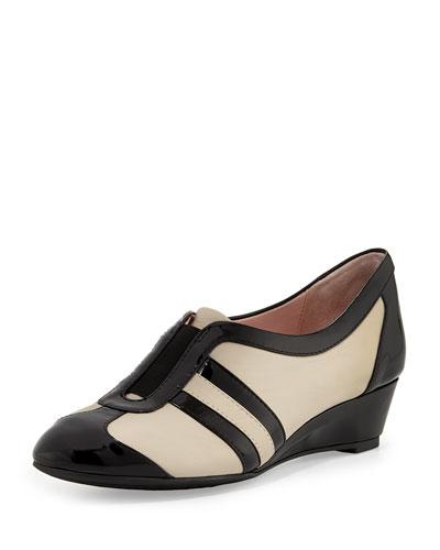 Taryn Rose Paislee Striped Wedge Sneaker, Bone/Black
