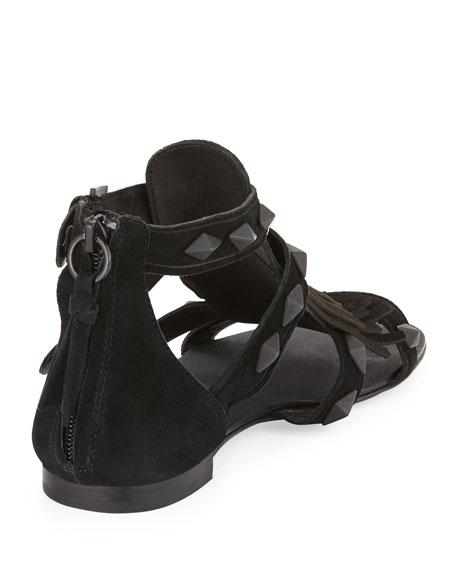 Mascara Suede Fringe Flat Sandal, Black